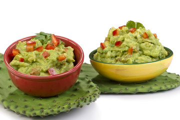 Guacamole on green cactus leaf.