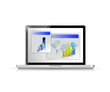 laptop and business graphs illustration design