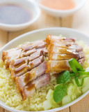Siu Yuk or sliced Chinese boneless roast pork with crispy skin
