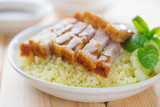 Chinese crispy roasted belly pork rice.