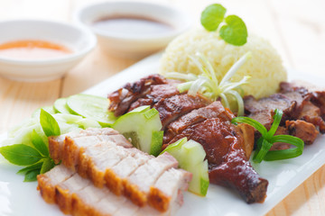 Roasted duck, roasted pork crispy siu yuk and Charsiu