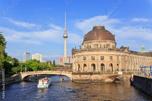 Bode Museum on museum island with Alexanderplatz TV tower