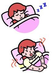 暑くて寝られない女性