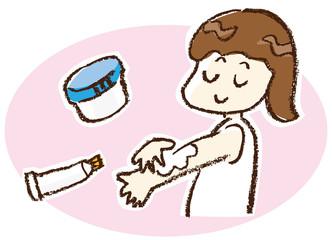塗り薬を塗る女の子
