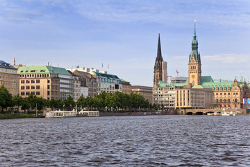 Alster Lake and Downtown of Hamburg city, Germany