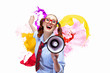 Funny looking woman with megaphone