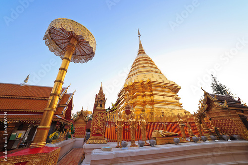 Golden pagoda of Doi Suthep temple , Chiangmai ,Thailand