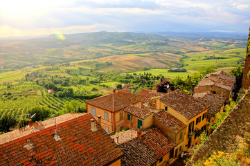 View over the fields of Tucany from Montepulciano near sunset