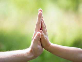 High five gesture of father and child