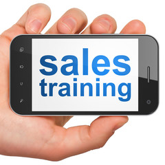 Marketing concept: Sales Training on smartphone
