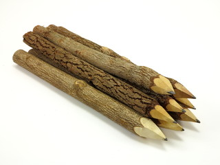 Group of neatly stacked wood tree pencils