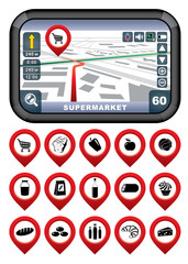 GPS navigator with the pointer supermarket.