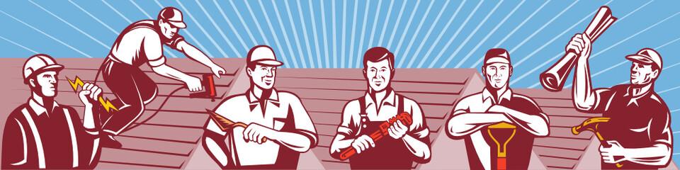 Construction Workers Tradesman Retro