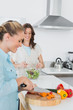 Cheerful women cooking together