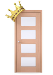 Gold crown on a wooden door