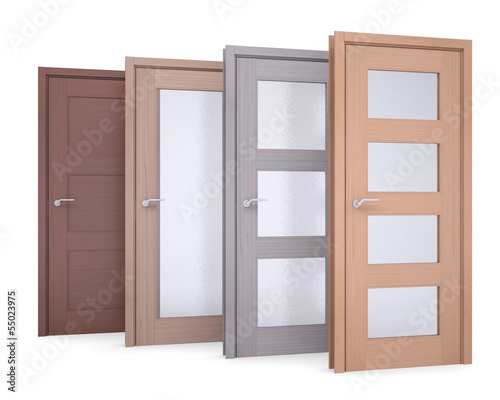 Group of wooden doors