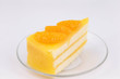 orange cake on white isolated background