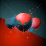Abstract poster with spheres, vector Eps 10 illustration.