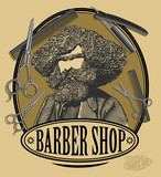 Vintage barber shop sign board with bearded man, scissors