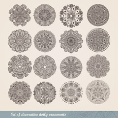 Vector set of sixteen ornament lace