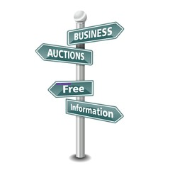 BUSINESS AUCTIONS icon as signpost - NEW TOP TREND