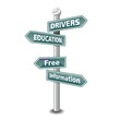 DRIVERS EDUCATION icon as signpost - NEW TOP TREND
