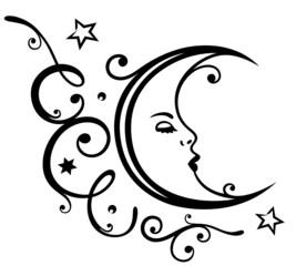 Mond, Ranke, Himmel, moon, luna, Sterne