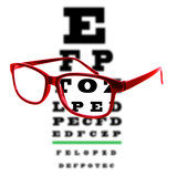 Eye vision test chart seen through eye glasses