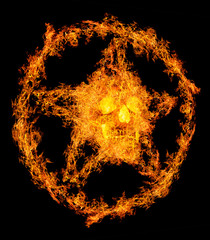 skull in orange flame pentagram