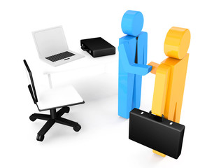 two 3d humans give their hand for handshake , work table. 3d ill