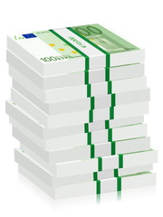 one hundred euro banknotes stacks