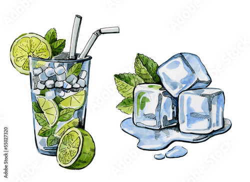 watercolor hand drawn cocktail and ice