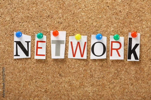 The word Network on a cork notice board