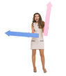 Surprised young woman with arrows pointing