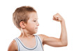 Постер, плакат: Smiling sport child boy showing hand biceps muscles strength