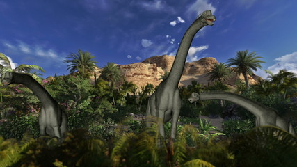 Brachiosaurus against blue sky, seamless loop