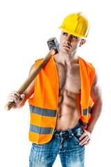 Very muscular worker