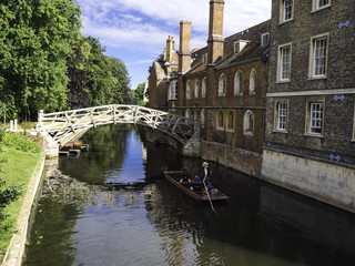 Punts lined up on river in  Cambridge England
