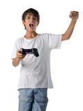 happy child with joystick playing videogames poster
