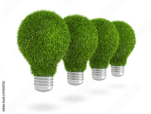 Green grass light bulb row