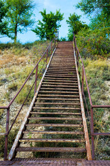 iron ladder on the mountain
