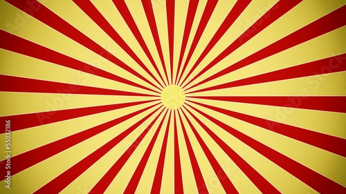 Sunburst in red and yellow vintage style