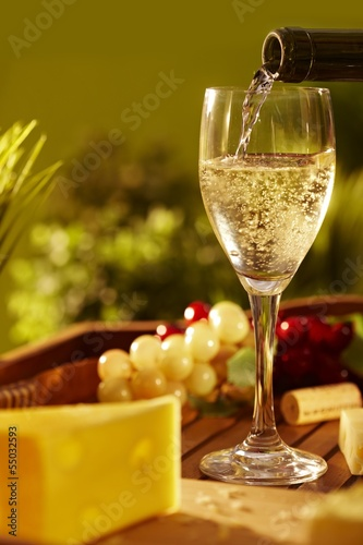 Glass of white wine outdoor