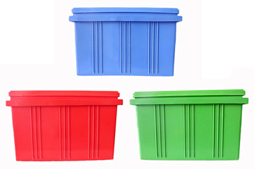 Blue,Red and Green Plastic box Packaging of finished goods.