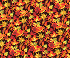 Seamless autumn pattern with leaves.