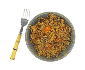 Vegetable Pilaf In Bowl Top With Fork