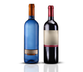 bottiglie di vino su fondo bianco
