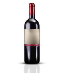 bottiglia di vino su fondo bianco