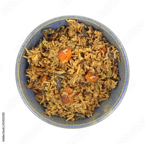 Vegetable Pilaf In Bowl Top