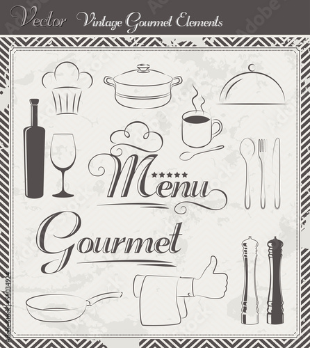 Vintage Vector Menu and Gourmet Elements